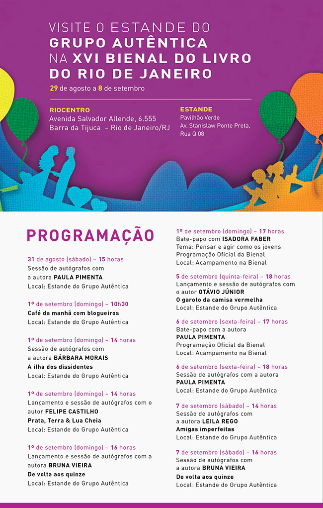 Programação XVI Bienal do Livro do Rio de Janeiro