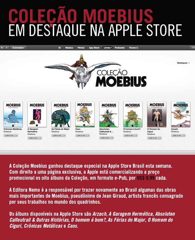 Coleção Moebius em destaque na Apple Store